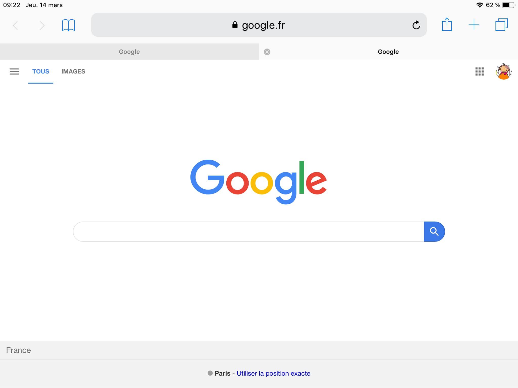 Capture d'écran de la page Google